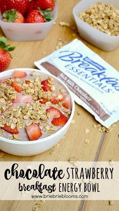 Enjoy a nutritious Chocolate Strawberry Breakfast Energy Bowl with your favorite Carnation Breakfast Essentials®, greek yogurt, fresh fruit, and granola. #CarnationBreakfastEssentials #ad