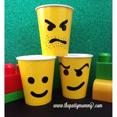 Lego Birthday Party Cups Supply Tableware Serveware - make my own. Birthday Cup, Lego Birthday Party, 6th Birthday Parties, Birthday Ideas, Lego Minecraft, Fete Laurent, Bolo Lego, Lego Movie Party, Party Cups