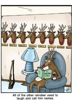 """""""All of the other reindeer *used* to laugh and call him names."""" ~ The Far Side by Gary Larson Far Side Cartoons, Far Side Comics, Funny Cartoons, Funny Comics, Adult Cartoons, Stupid Funny, The Funny, Hilarious, Funny Stuff"""