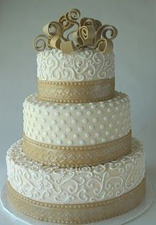cream & coffee wedding cake, love this- of course the colors would be different for yours!
