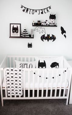 Baby boys monochrome Batman nursery. Full reveal and more toddler bedroom ideas at www.rainandpine.com
