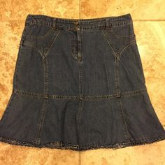 Denim Skirt by Mix Nouveau Gently used mid length denim skirt with ruffle bottom. Size XL. Skirts Midi
