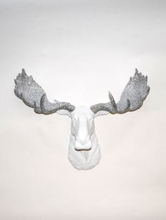 Faux Moose - The Theodora - White w/ Silver Glitter Antlers Resin Moose Head- Moose Resin Faux Taxidermy- Chic & Trendy from WhiteFauxTaxidermy on Etsy.