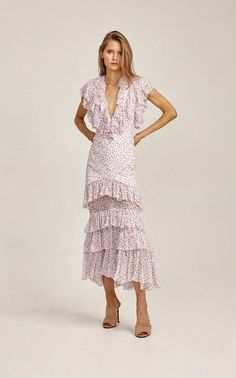 65bf721c2cf Wendall Tier-Ruffle Dotted Midi Dress