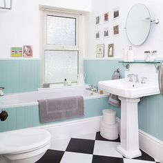 White bathroom with duck-egg blue panelling | Decorating