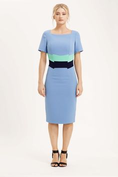The Calabria dress is made from our signature bi-stretch crepe fabric. This colourway is cornflower blue, with the contrasting band of mint and navy across the middle to give the illusion of a slimmer waist. £145 #cornflower #blue #dress #summer #colourblock