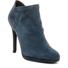 Stuart Weitzman Bluster Heeled Bootie ($270) ❤ liked on Polyvore featuring shoes, boots, ankle booties, stosue, suede bootie, suede ankle booties, high heel ankle boots, pull on ankle boots and short boots