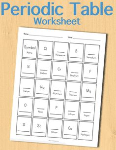 Customizable and Printable Periodic Table Worksheet