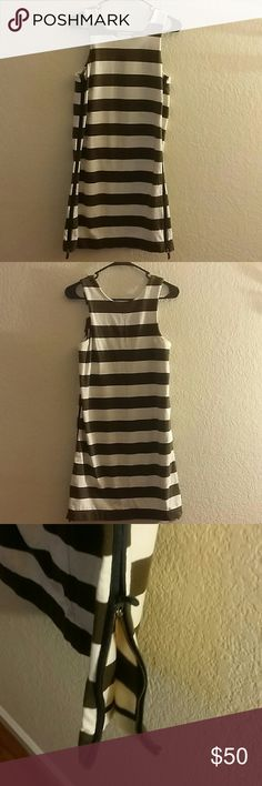 "Madewell Dress Adorable striped dress by Madewell. Cotton material. Sleeveless, looks great with a cardigan. Two bottom zippers. Excellent condition. Measures 35"" from shoulder to bottom. Madewell Dresses Midi"