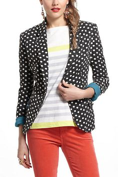 Anthropologie Polka Dot Blazer Dark Grey Ivory Teal Cuffs M Cartonnier