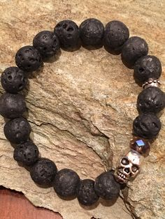 #Lava #Skull bracelet #SkullBracelet Etsy.com/shop/Karmicsparkle