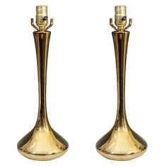 Pair of Mid Century Brass Table Lamps by Laurel Lamp Company
