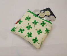 Four Leaf Clover Fabric Coin Purse - Free P by Red Devil Crafts @ Folksy.com