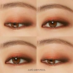 Eye Asian Makeup Tutorial Cut Crease 50 New Ideas Korean Makeup Look, Korean Makeup Tips, Asian Eye Makeup, Monolid Makeup, Eye Makeup Cut Crease, Makeup Lipstick, Orange Makeup, Makeup For Green Eyes, Make Up Looks