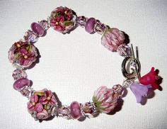 Spring Garden Lampwork Bracelet with Sterling Silver by judesjujus, $75.00