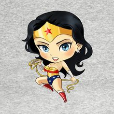 Shop Wonder Woman Chibi wonder woman t-shirts designed by dyutiart as well as other wonder woman merchandise at TeePublic. Wonder Woman Chibi, Wonder Woman Kunst, Wonder Woman Art, Chibi Marvel, Marvel Vs, Marvel Dc Comics, Chibi Superhero, Comic Book Characters, Comic Character