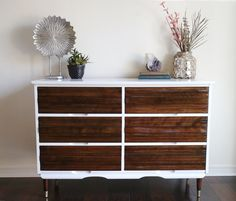 Mid century modern two toned dresser / credenza / media console midcentury furniture - SOLD