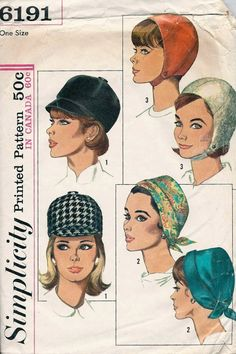 Simplicity 6191 1960s Set of Hats Pattern  3 Styles  Scarf Hat, Jockey Hat, Helmet Hat womens vintage sewing patten Womens by mbchills