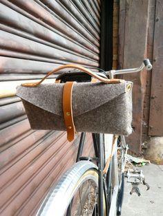 bicycle saddle bag in honey and felt. $140.00, via Etsy.
