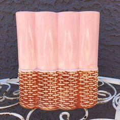 Excited to share this item from my #etsy shop: VINTAGE Pottery Vase| 1956 McCoy pink basket weave vase #pink #brown #vintage #mccoy #pottery #basketweave #1950s #ceramic #glaze