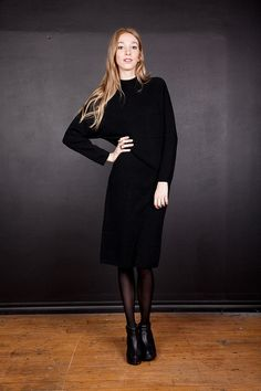 Black Midi Sweater Dress / Knitted Long Sleeve by newwavenatives, $36.00
