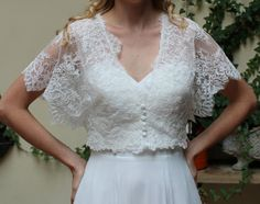 Wedding lace bolero, Jacket Bridal short sleeve Romantic bolero. Made by order