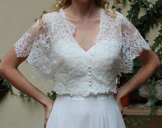 Boléro dentelle de mariage, Bridal veste courte manches boléro romantique. Pris par le décret