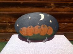 Fall Pumpkin Night Plaque  Fall Decor  Home by PeppermintDreamland