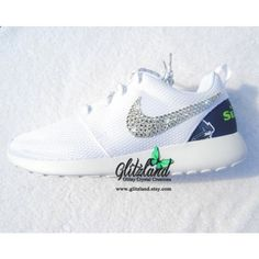 fa6c820c27e Swarovski Nike White Roshe Run W Seattle Seahawks Print Heel Blinged...  ( 154