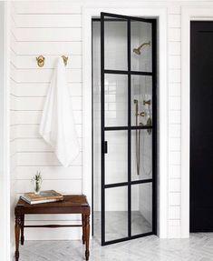 Adorable Farmhouse Bathroom Decor Ideas And Remodel ~ Home Design Ideas Shiplap Bathroom, Bathroom Interior, Small Bathroom, Master Bathroom, Minimal Bathroom, Bathroom Ideas, Bathroom Black, Bathroom Showers, Downstairs Bathroom