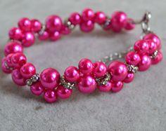 pulseras de color rosa perla, rosa pulsera, pulsera de perlas de cristal, pulsera de damas de honor, novia pulsera, brazalete flor perla
