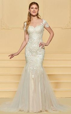 Lace Tulle Fit & Flare Wedding Gown with Detailed Lace Applique and Illusion Back