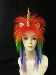 Rainbow Colored Unicorn wig by BubbasBoutique on Etsy