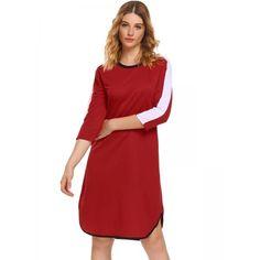 Dresslink - Dresslink Red Patchwork Loose Curved Hem O-Neck 3/4 Sleeve Shift Dress - AdoreWe.com