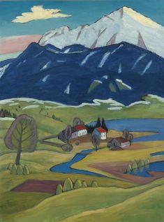 가브리엘 뮌터(칸딘스키의 여인), 먼산이 보이는 풍경 Gabriele Münter, Landschaft mit Einoedhof,