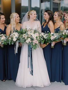 Midnight Blue Bridesmaid Dresses bridesmaid dresses Midnight Blue and Organic Flowers for a Timeless Ohio Wedding Midnight Blue Bridesmaid Dresses, Navy Blue Bridesmaid Dresses, Wedding Bridesmaid Dresses, Christmas Bridesmaid Dresses, Bridesmaid Colours, Navy Bridesmaids, Bridesmaid Flowers, Bridal Bouquets, Gold Wedding Colour Theme