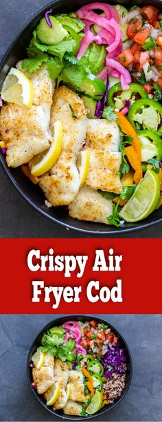 The Best way to cook Cod is to make it in an Air fryer. Air Fryer Fish is so crispy on the outside and juicy. YOu will love this air fryer cod bowl we made!