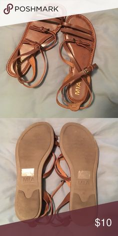 *MUST GO* MIA straps sandals These are going to be your go to sandals this summer for sure! Sized 8.5 but fits me, and I'm a true 8. Only worn once, very minimal signs of wear on the footbed, no signs of wear on the bottom. Will model upon request. OFFERS WELCOME MIA Shoes Sandals