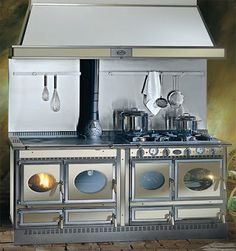 Cuisinière à Gaz électrique Mixte à Bois COUNTRY LGE J - Cuisiniere 4 feux gaz four electrique chaleur tournante pour idees de deco de cuisine