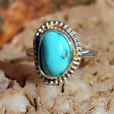Turquoise Ring - Sterling Silver Ring - Genuine Turquoise Ring - Blue Turquoise - Artisan Jewelry - Southwestern Ring - Size 7 Ring by EarthsBountyGems on Etsy