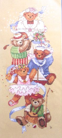 Cynthia Lee Teddy Bears Stamped Cross Stitch Kit by planetalissa