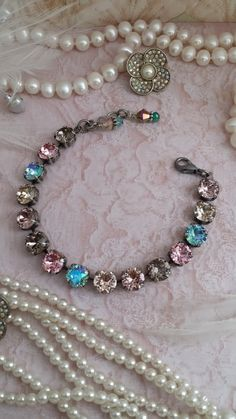 Your place to buy and sell all things handmade Swarovski Crystal Necklace, Swarovski Jewelry, Crystal Bracelets, Crystal Jewelry, Swarovski Crystals, Beaded Necklace, Chain Jewelry, Jewlery, Necklaces