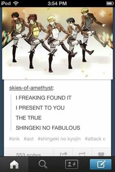 ((THE TRUE FABULOUSNESS OF SHINGEKI NO KYOJIN/FABULOUS SHALL GRACE US WITH ITS PRESENCE TODAY))