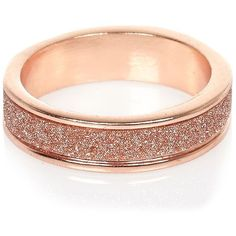River Island Rose gold tone glitter ring ($6.47) ❤ liked on Polyvore featuring jewelry, rings, glitter jewelry, rose gold tone jewelry and glitter rings