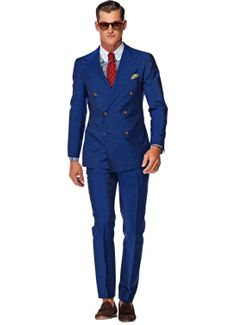 Suit Supply Double Breasted Blue Men's Suit