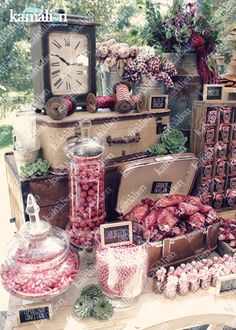 wedding candy bar marsala - Pesquisa Google Candy Bar Wedding, Wedding Desserts, Candy Table, Candy Buffet, Dessert Bars, Dessert Table, Stage Patisserie, Drink Display, Cookie Table