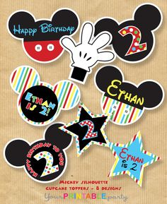 Mickey Mouse Cupcake Toppers & Cupcake by YourPrintableParty