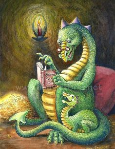 Dragon tells bedtime tales by Lisa Victoria (http://www.fairyvillage.com/mc_images/product/detail/bedtimetales.jpg)