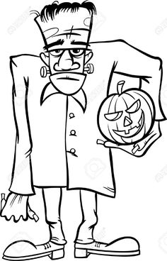 Vector Of Black And White Cartoon Illustration Spooky Halloween Zombie Or Frankenstein Like Monster For Coloring Book