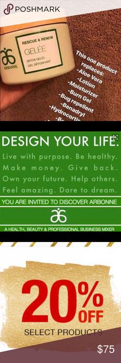 Arbonne Rescue & Renew Detox Gelee This product replaces: 🌿Aloe Vera 🌿Lotion 🌿Moisturizer 🌿Burn Gel 🌿Bug Repellent 🌿Benadryl 🌿HYDROCORTISONE  🌿HEADACHE MEDS  Also Relieves: 🌿Hot Flashes 🌿Bruises  It also makes old tattoos look BRAND NEW!!  This product is a miracle worker! Arbonne Other